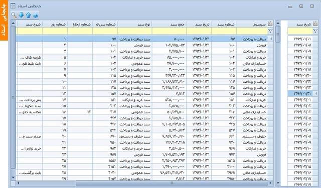 جابجایی اسناد | نرم افزار حسابداری مالی آرین سیستم