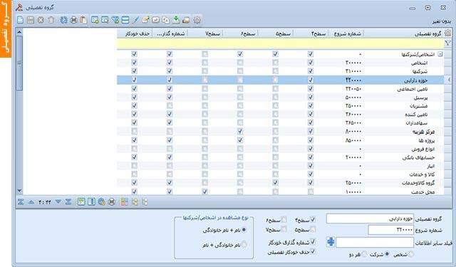 گروه تفصیلی | نرم افزار حسابداری مالی آرین سیستم