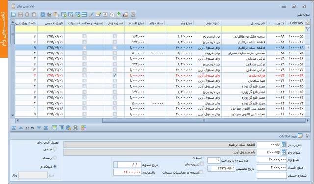 تخصیص وام | نرم افزار حسابداری مالی آرین سیستم